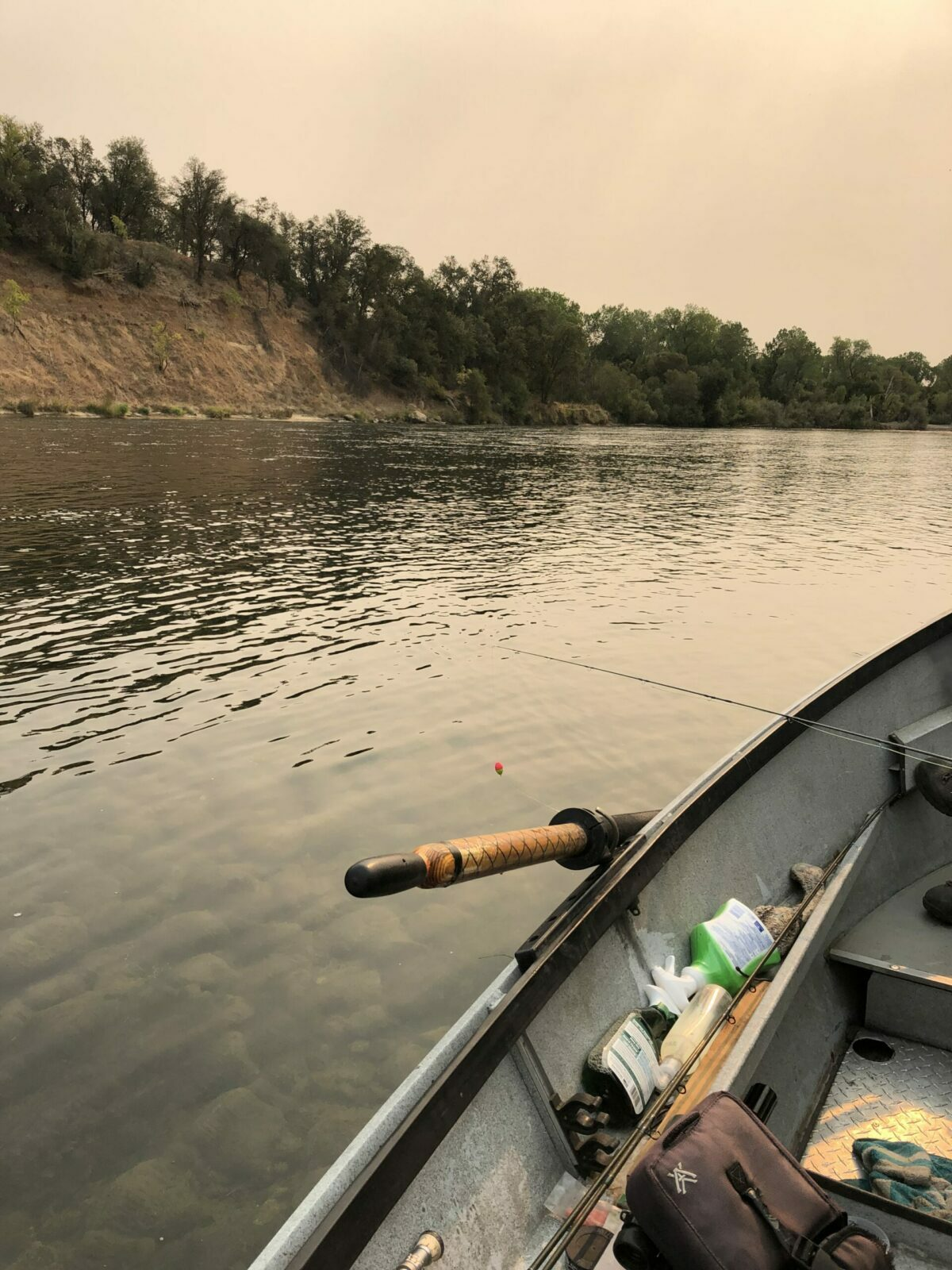 view of the Sacramento River from a fishing boat