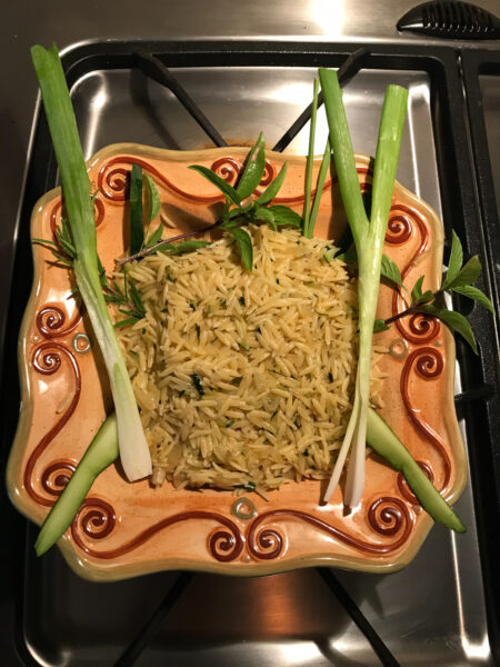 "dish of ""disappearing orzo"""