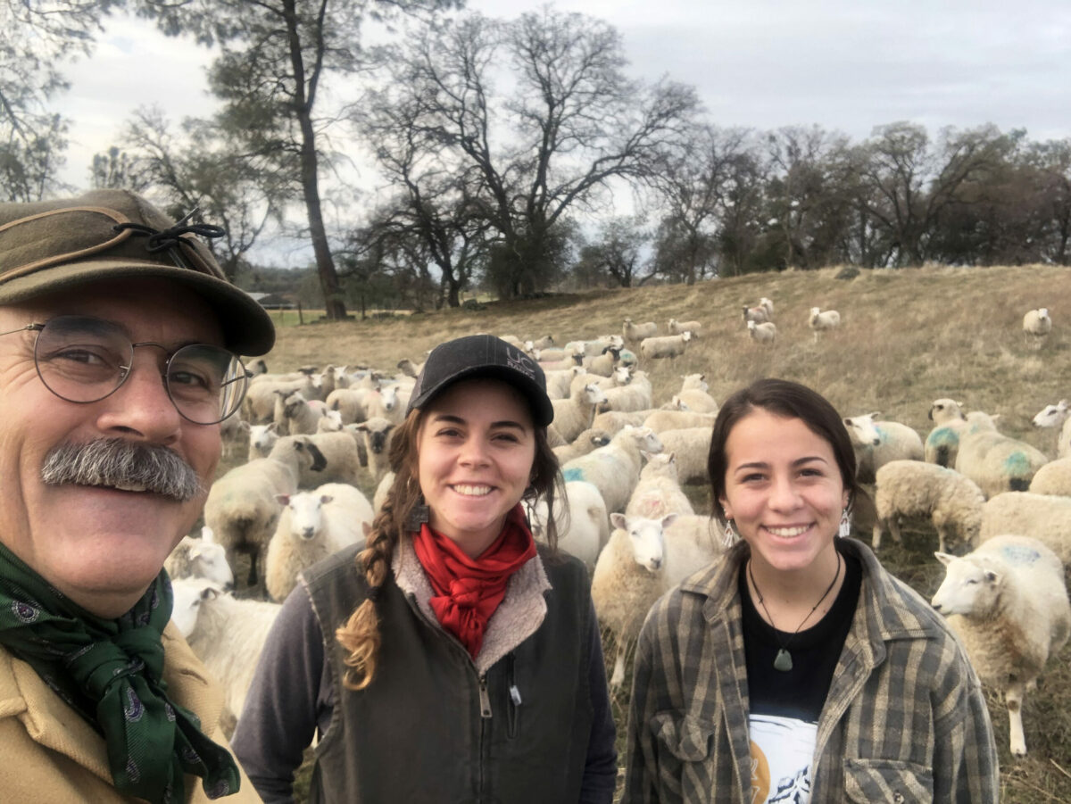 Dan Macon and family in the field with sheep