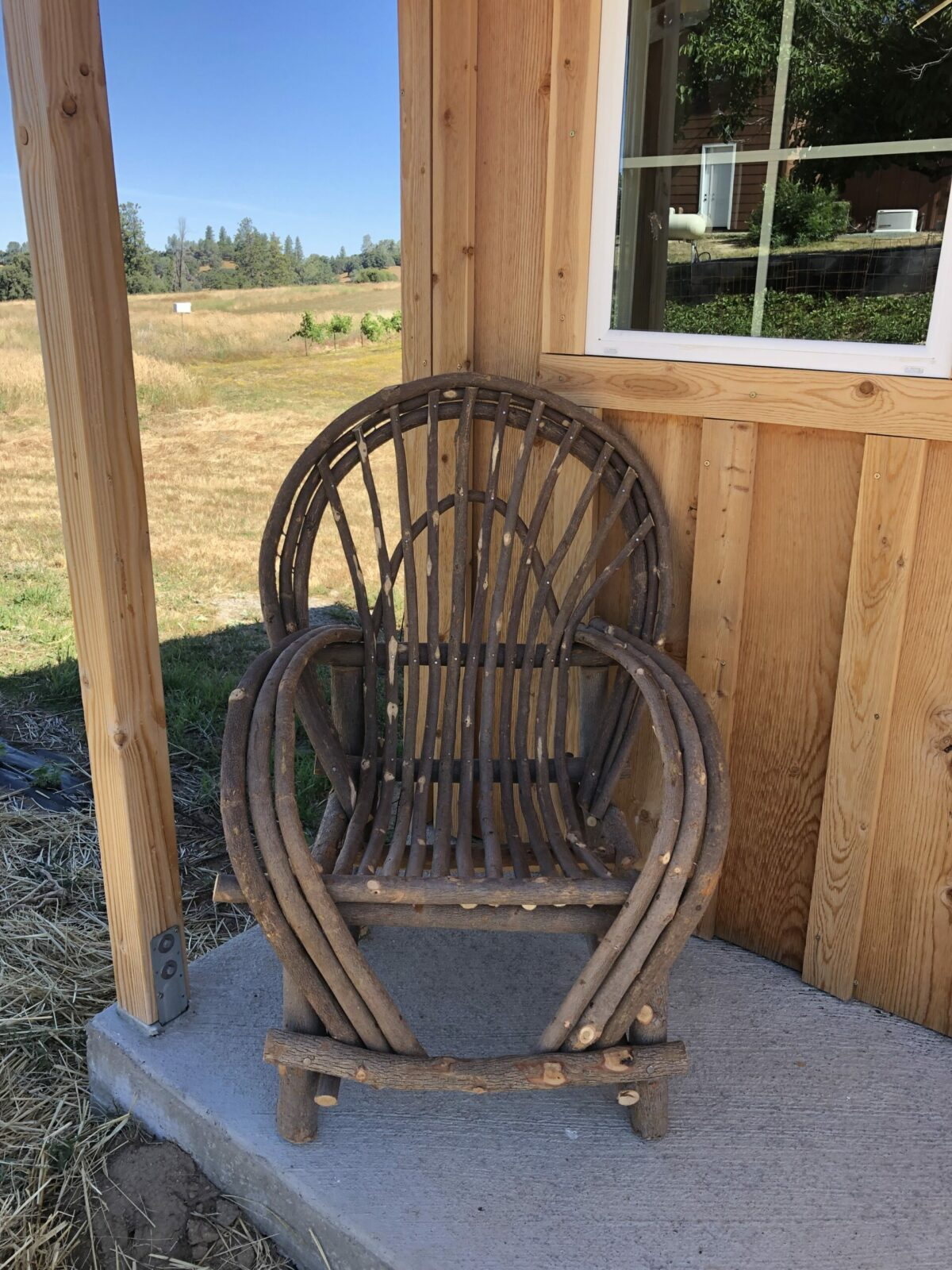 chair in front of shed