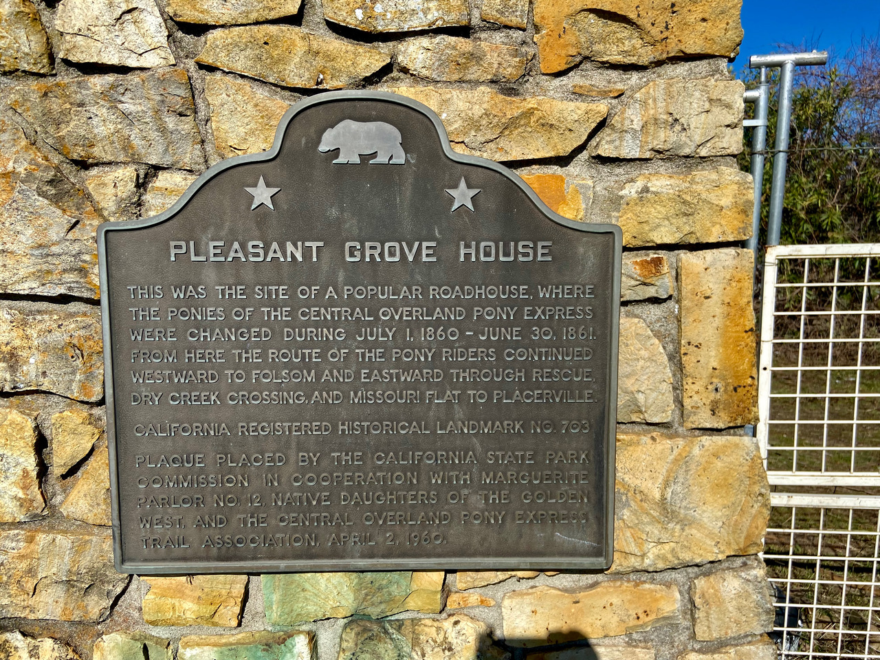 Pleasant Grove House historic marker sign